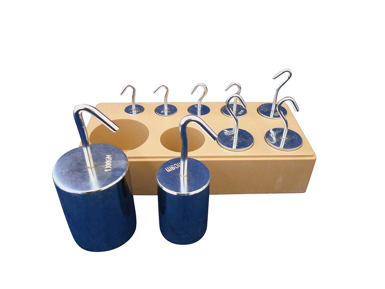 Ajax Scientific Steel 9 Piece Deluxe Hook Weight Set, 10g - 1kg ME175-0000