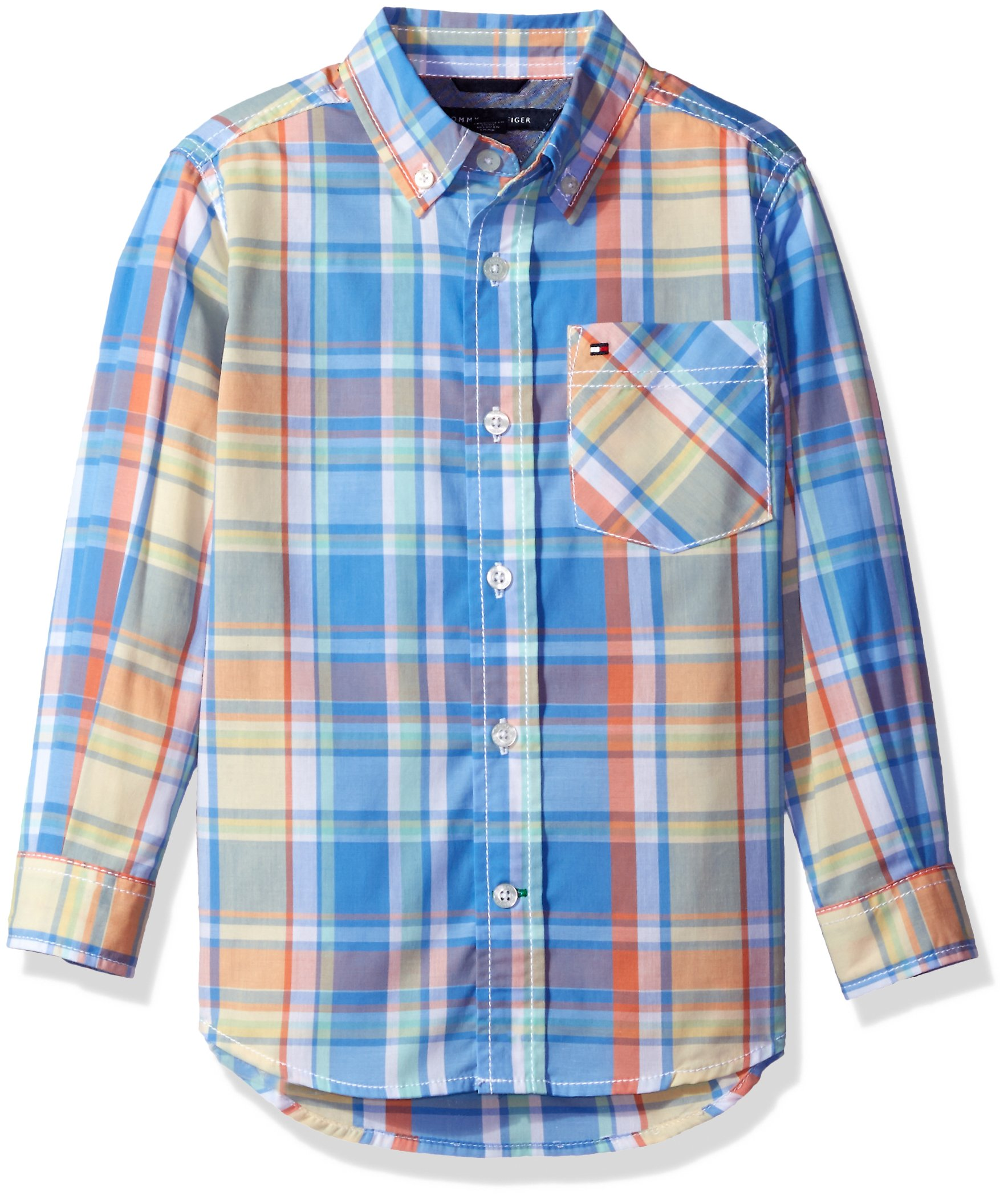 Tommy Hilfiger Boys' Little Long Sleeve Plaid Woven Shirt, Summer Blue, 6 by Tommy Hilfiger