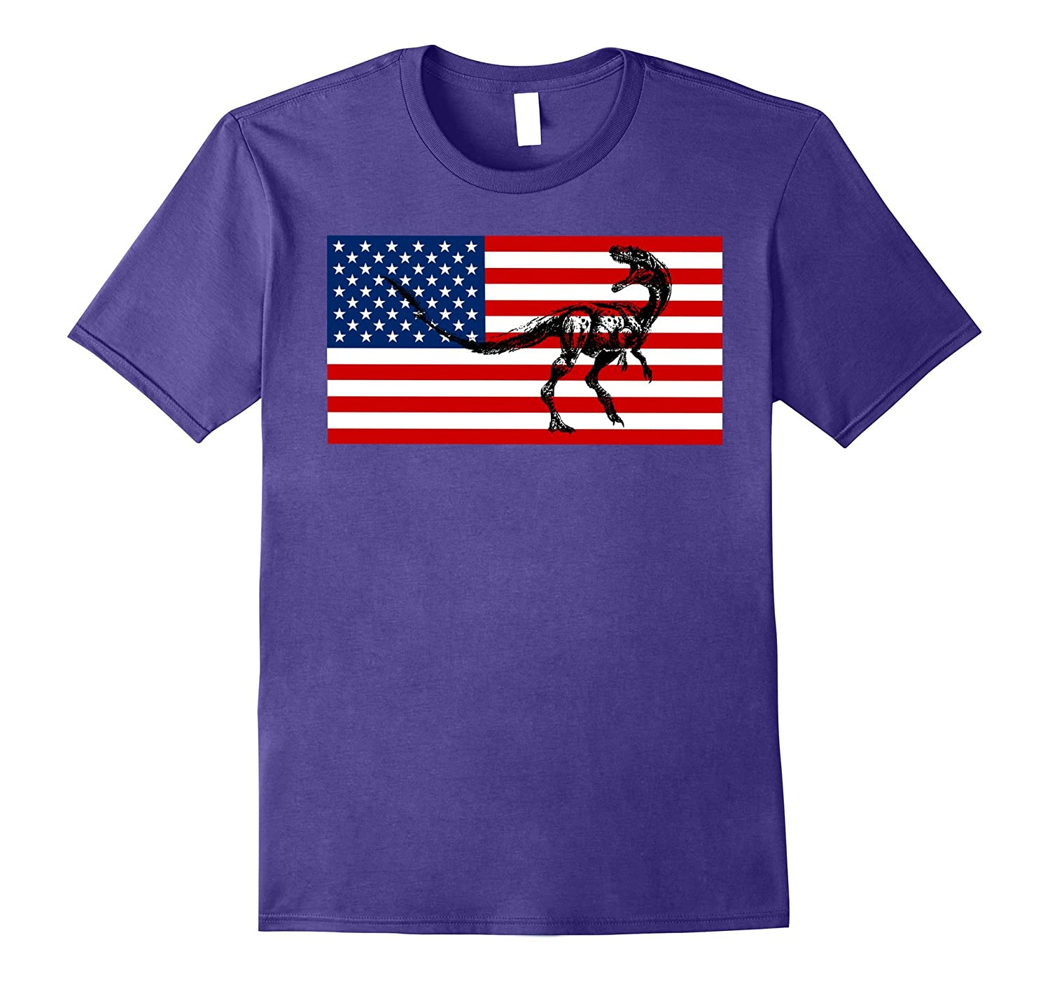 American Flag Funny Dinosaur Tshirt Fourth Of July Tee Shirt-PL