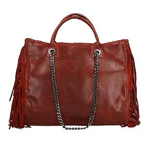CTM Woman Handbag, genuine leather made in Italy - 35x30x12 Cm