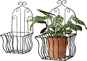WHW Whole House Worlds French Country Wall Baskets for Plants, Set of 2, Crested Arabesque, Curled Iron, Black, Garden Pot Holders, 7 3/4 x 13 3/4 and 6 1/4 x 12 1/2 Inches