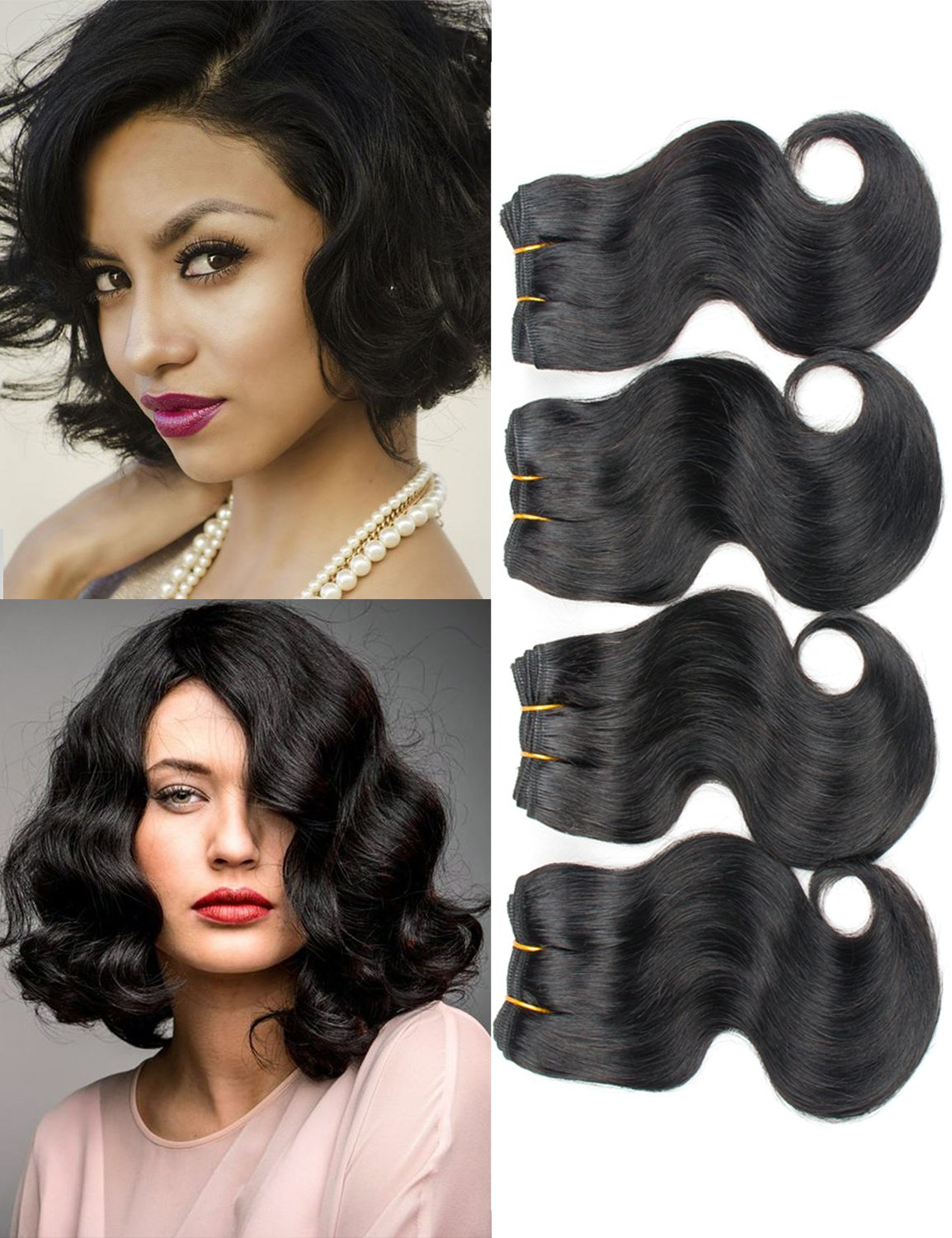 Brazilian Hair Short Human Hair 4 Bundles Body Wave 8'' 100% Unprocessed 50g/Piece (4 Piece, Natural Color Body Wave)