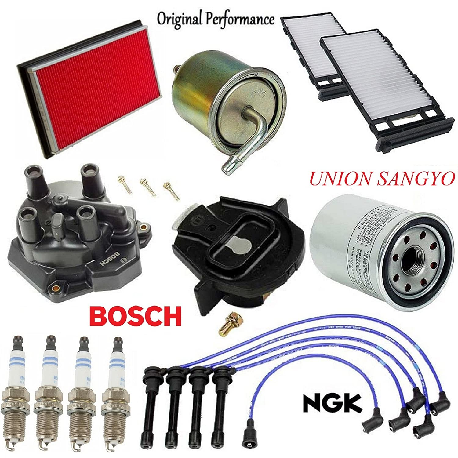 Tune Up KIT Filters Cap Rotor Spark Plug for Nissan Altima L4; 2.4L 1997-2001