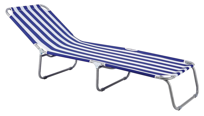 Liege, Sonnenliege, blau-weiss gestreift, PREMIUM Relaxliege ...