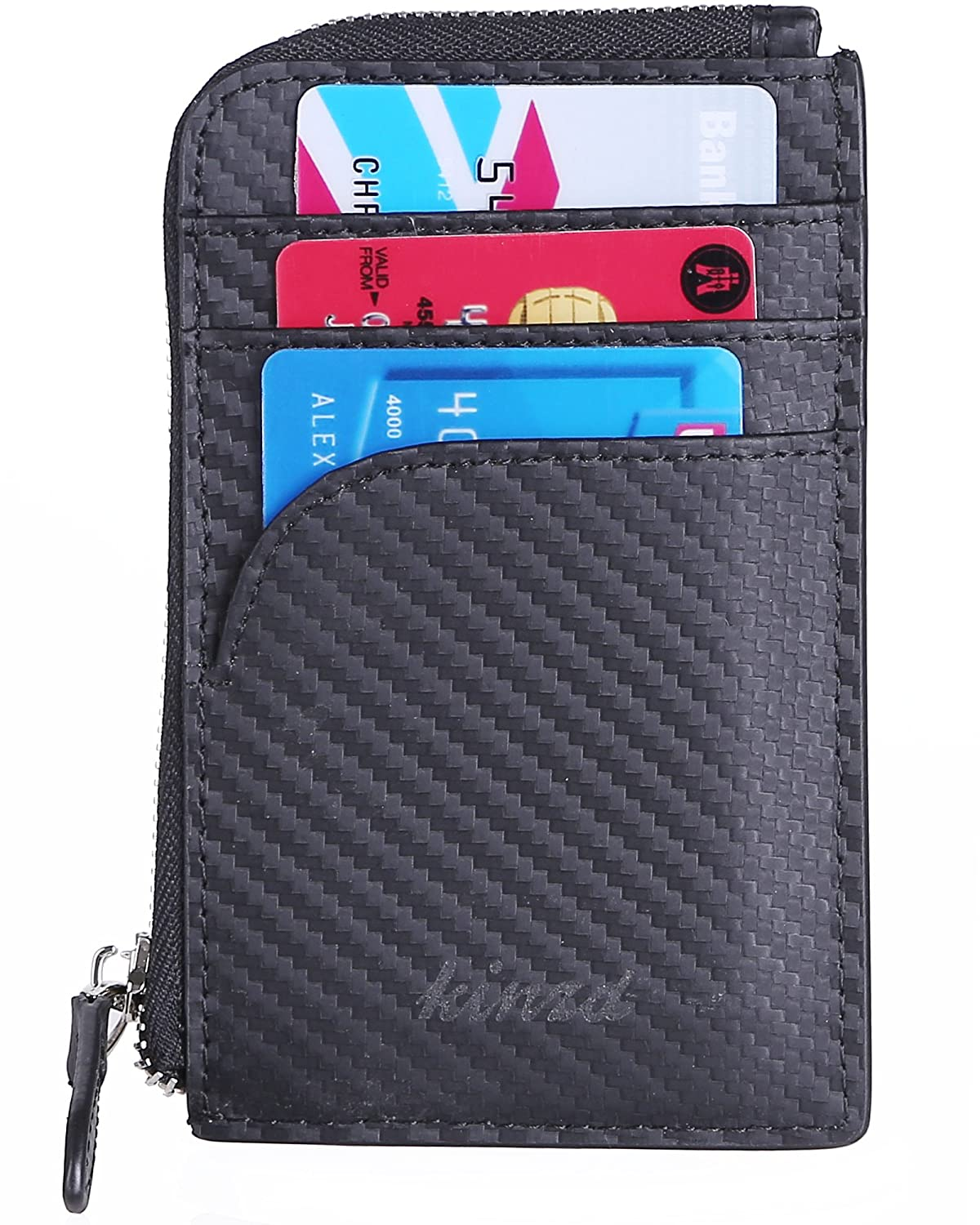 Kinzd Front Pocket Wallet RFID Minimalist Coin Wallet Credit Card Holder (Black)