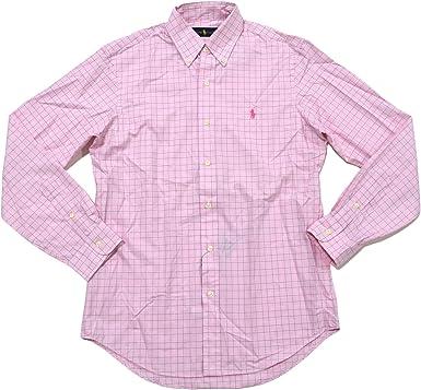 Pink Plaid Polo Ralph Lauren Mens Plaid Poplin Sport Shirt