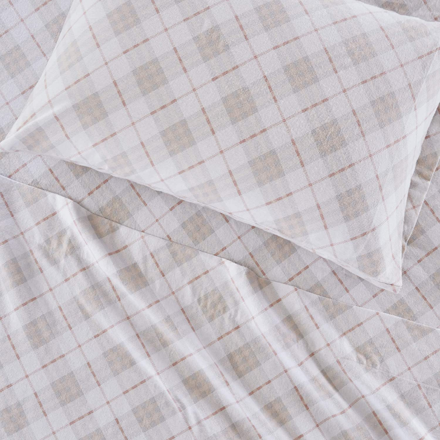 True North by Sleep Philosophy Cozy Flannel 100% Cotton Ultra Soft Cold Weather Sheet Set Bedding, Queen, Pink Plaid 4 Piece: Home & Kitchen