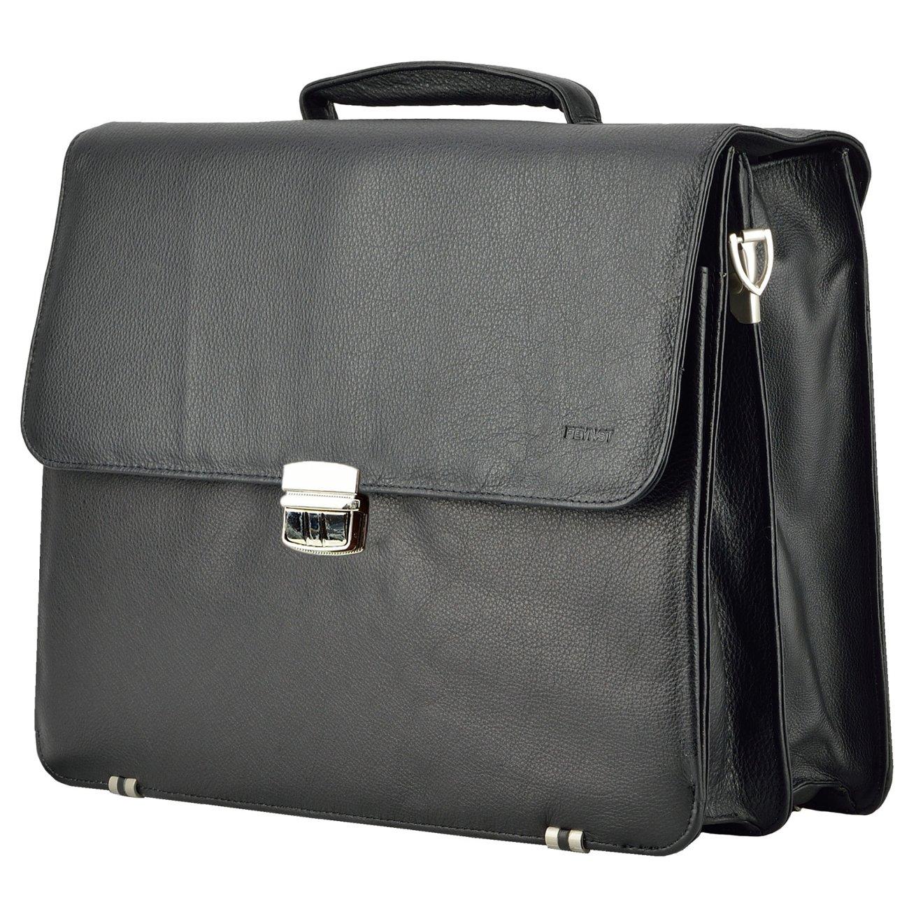 Echt Leder Messenger bag Business Tasche Aktentasche Herrentasche Schultertasche Umhängetasche DIN-A4 Laptoptasche Notebooktasche Schwarz MB-14-sw