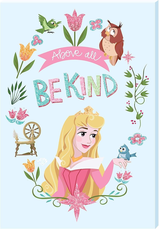 Disney Princess Motivational Canvas Wall Art Canvas with Glit Standard, Sleeping Beauty, 13