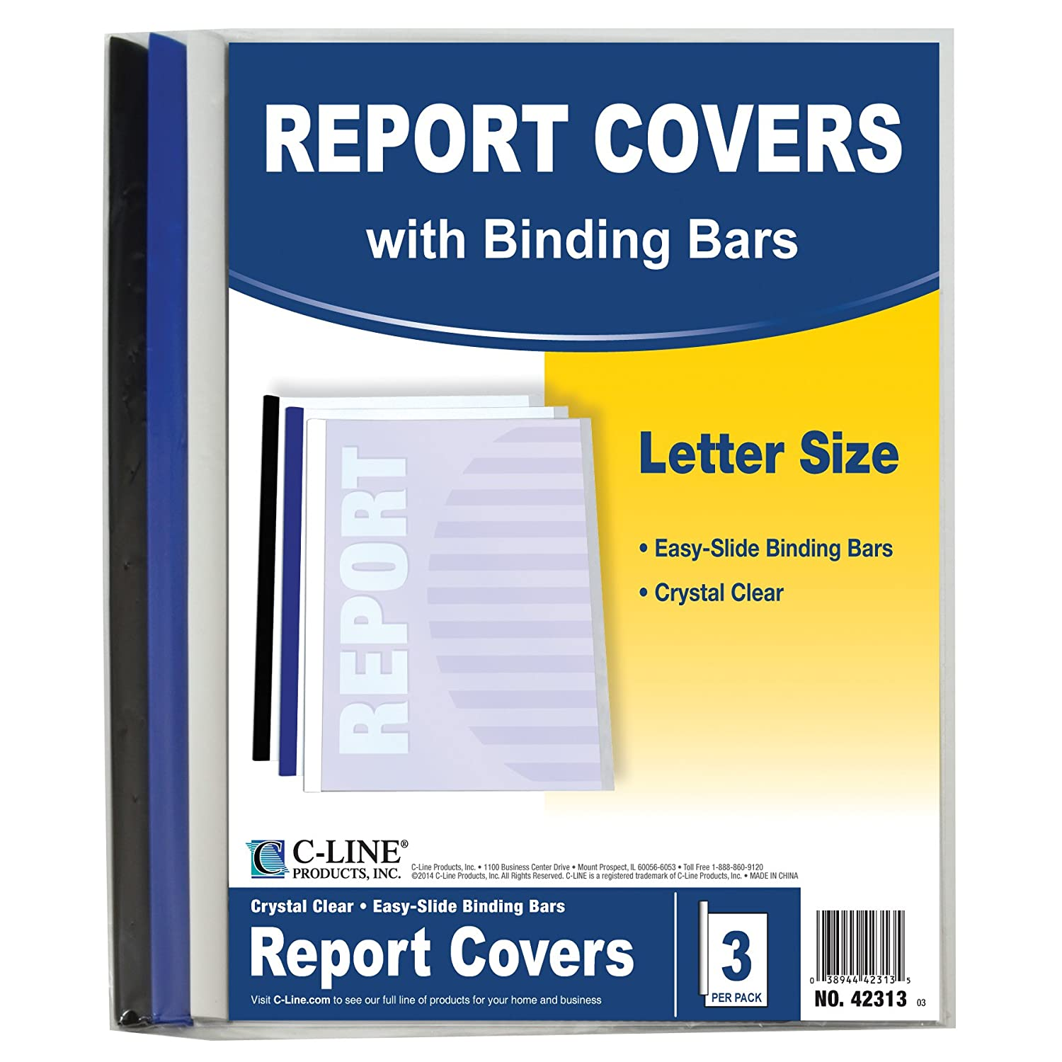 C-Line Report Covers with Binding Bars, Red Vinyl, Red Bars, 8.5 x 11 Inches, 50 per Box (32554) C-Line Products Inc.