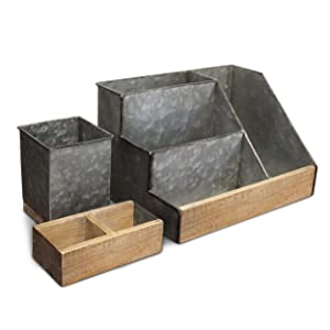 3 Piece Galvanized Metal Desk Organizer Set- Rustic Mail Organizer for Desktop - Great for Rustic or Industrial Home Decor! Rustic Makeup Organizer for Vanity