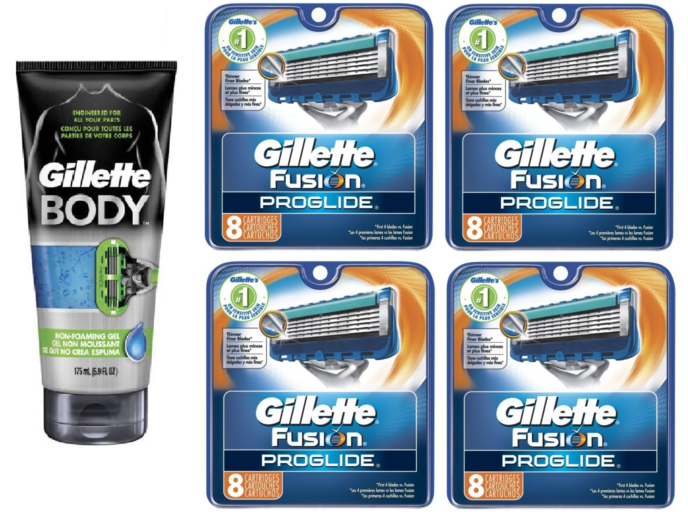 Gillette Body Non Foaming Shave Gel for Men, 5.9 Fl Oz + Fusion Proglide Refill Blades 8 Ct (4 Pack) + FREE Luxury Luffa Loofah Bath Sponge On A Rope, Color May Vary