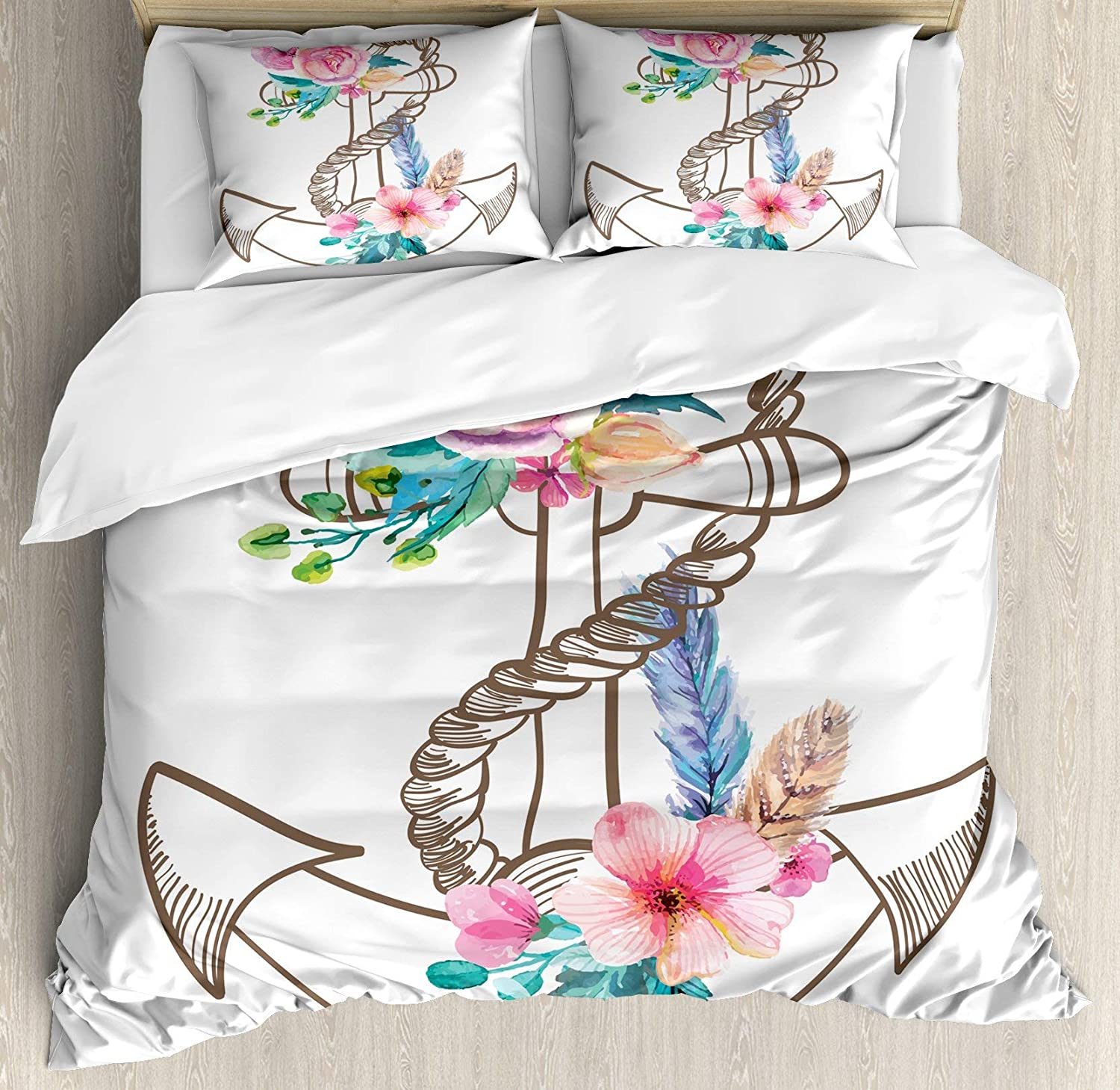 Multi 5 Twin BULING Anchor 4pc Bedding Set Twin Size, Watercolor Spring Blossoms Feathers on a Doodle Style Anchor Floral Lightweight Microfiber Duvet Cover Set, Brown Pale Pink Turquoise