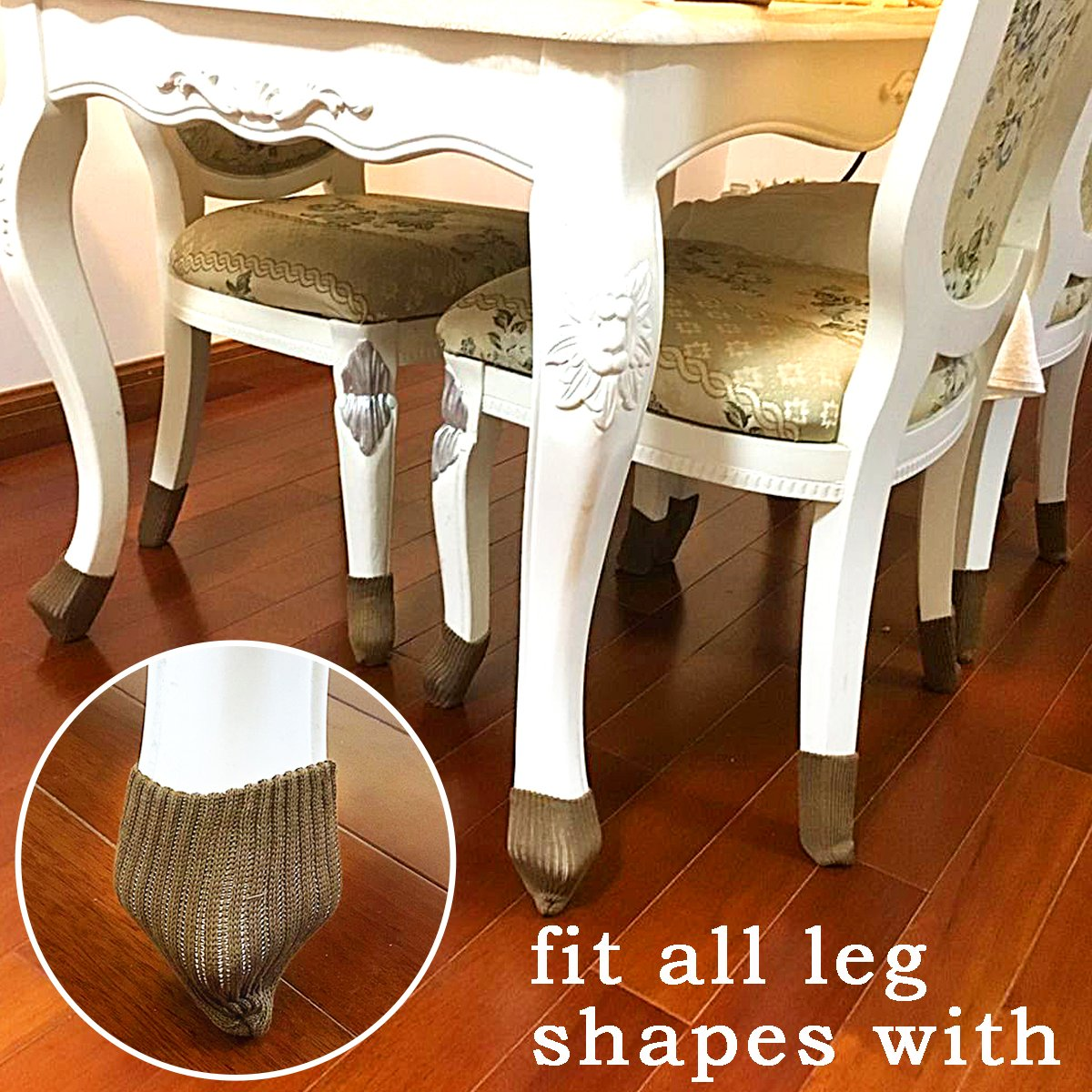 LimBridge 24pcs Chair Socks, Elastic Wood Floor Furniture Chair Leg Feet Protectors Covers Caps Set, Fit Girth from 4'' to 7'', Vertical Knitted Brown