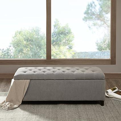 Shandra Tufted Top Storage Bench Grey See Below