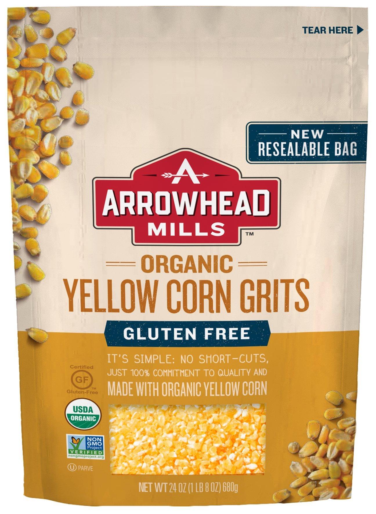 Arrowhead Mills Organic Gluten-Free Yellow Corn Grits, 24 oz. Bag (Pack of 6) by Arrowhead Mills (Image #1)