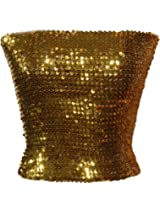 Versatile Metallic Sparkle all over Sequined Glitter Stretch Boob Bandeau Tube Top Boob Disco Party Dancer Bodice / Hot Bodycon Mini Skirt Clubwear