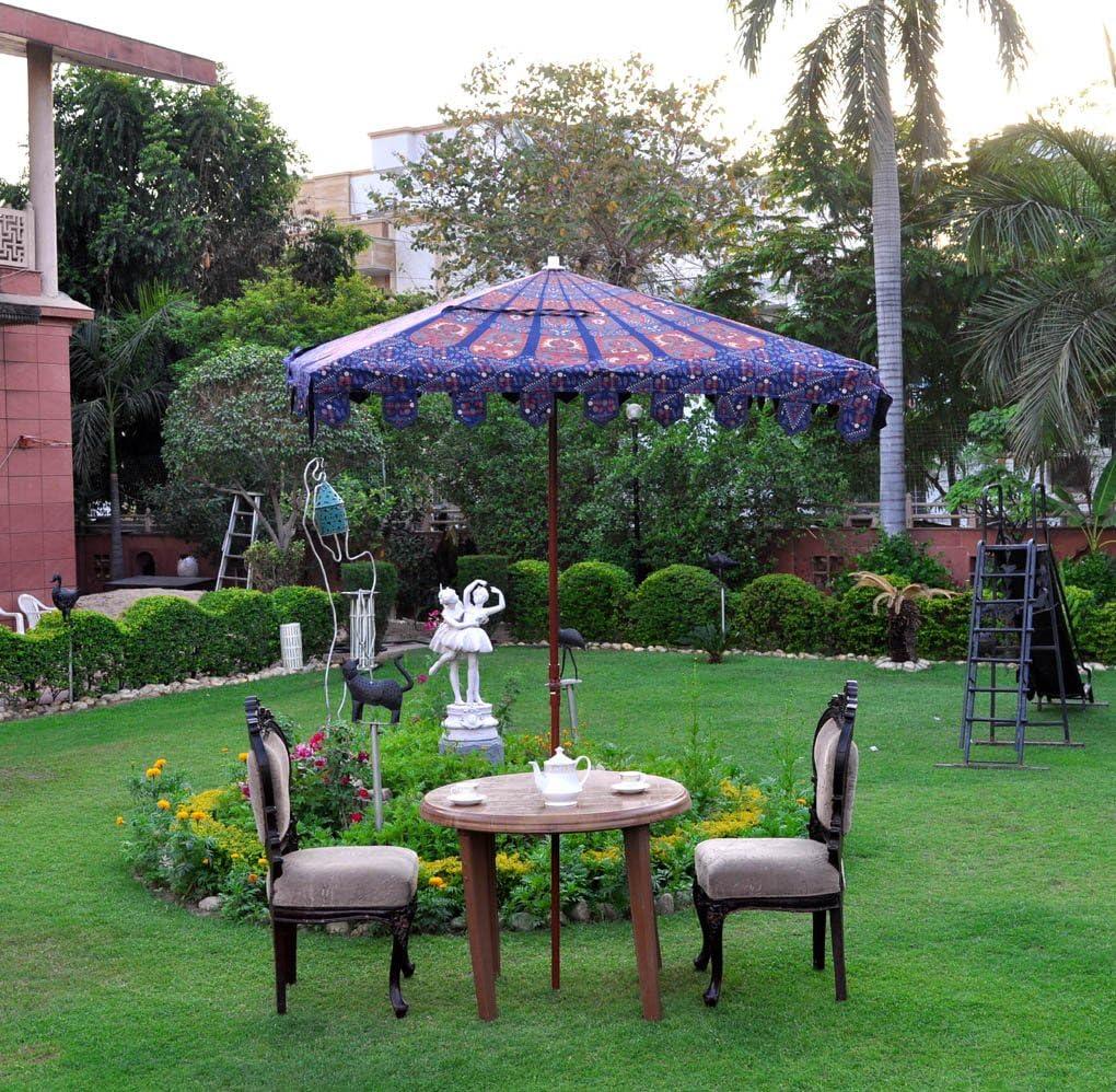 Paraguas cuadrado de jardín de 1, 52 m, 8 varillas, color azul ...