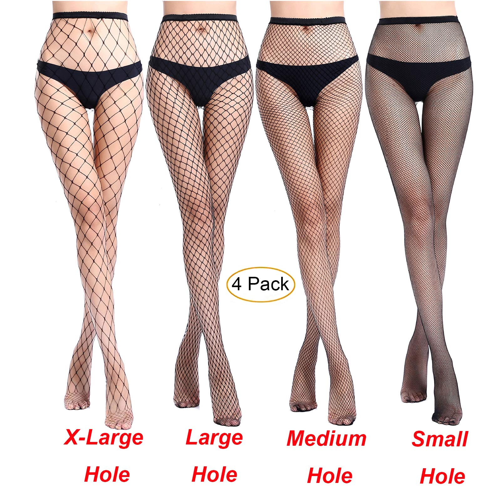 MERYLURE Black Fishnet Pantyhose 2 Pairs Women's Seamless Sheer Mesh Hollow Out Tights Stockings (One Size, x-large+large+medium+small Hole,4 Pack)