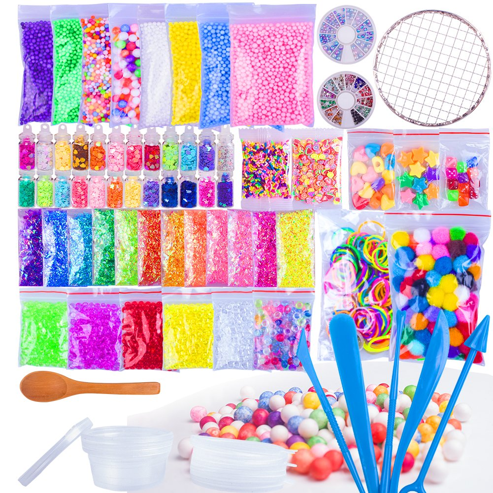 72 Pack Slime Making Kits Supplies, Including Foam Balls, Fishbowl Beads, Net, Glitter Jars, Pearls,Wooden Spoon, Rubber Band,Containers for Kids Handmade Slime Charms DIY Making(Not Contain Slime) Bajotien