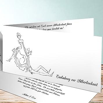 Einladungskarten Silberhochzeit Modern, Eheglück 5 Karten, Horizontale  Klappkarte 210x100 Inkl. Weißer Umschläge,
