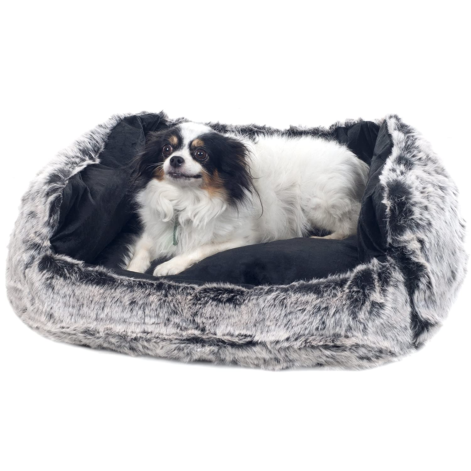 PETMAKER Small Faux Fur Black Mink Dog Bed, 23 x 19