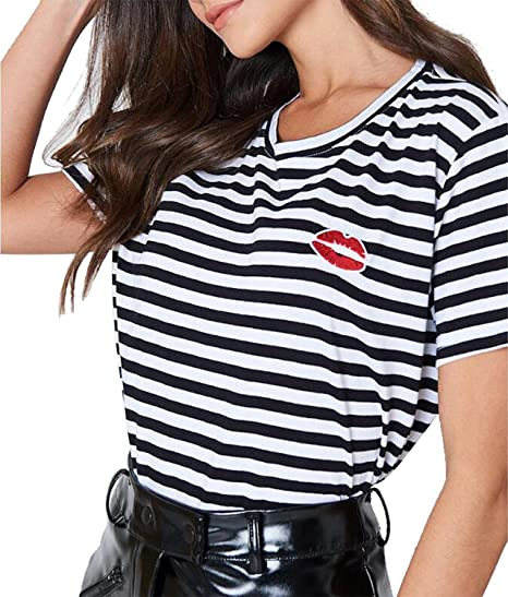 d35daa95d97a QIANMEI Women s Stripe Lip Print Summer T Shirts Short Sleeve Round ...