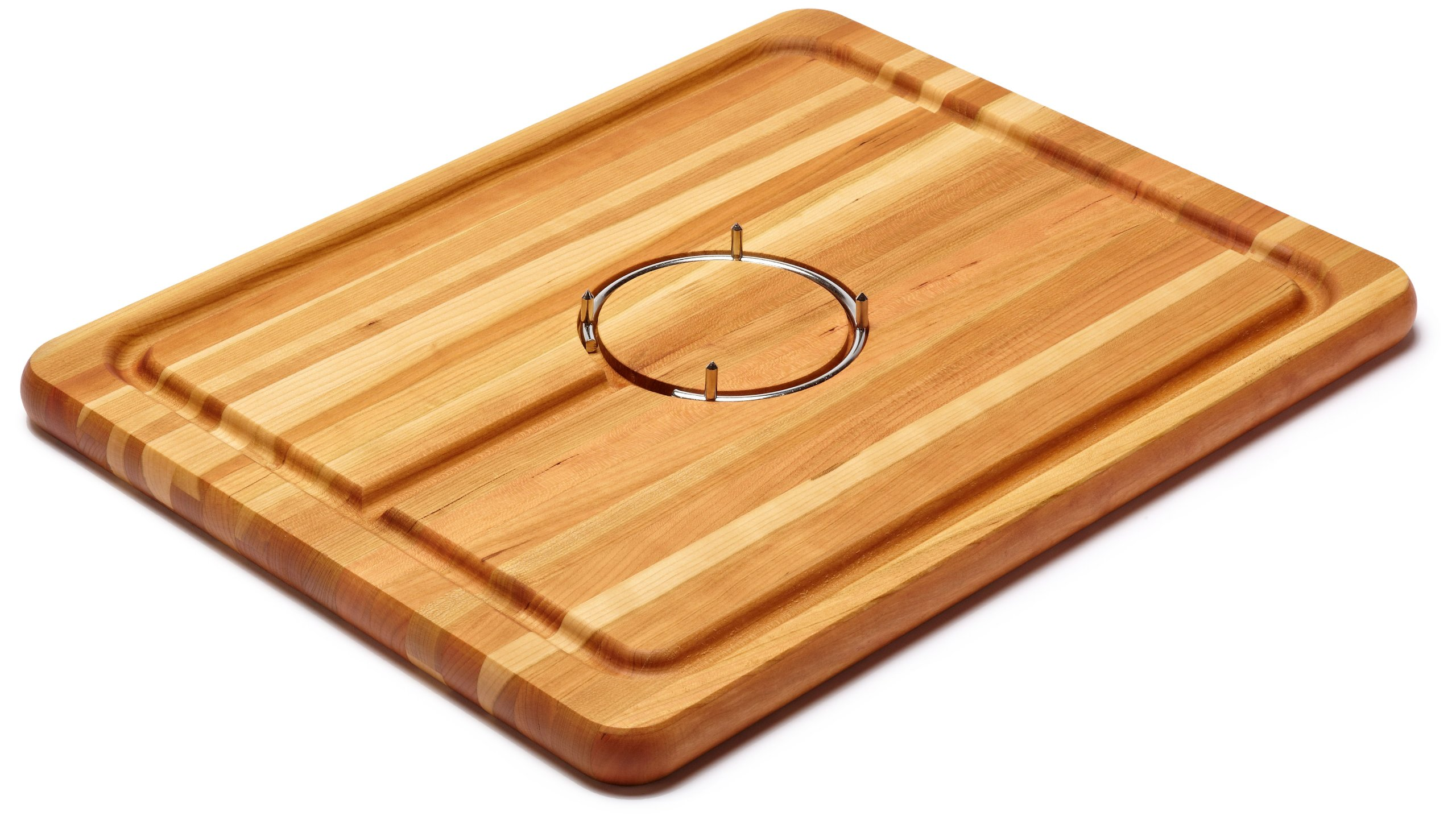 Snow River USA 7V03084 Hardwood Cherry Carving Board with Stainless Steel Gripping Ring and Juice Well, 14'' x 18'' x 1''