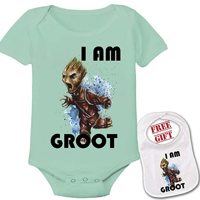 d2c77f5ab Image Unavailable. Image not available for. Colour: Apparel USA I AM Groot  Cute Theme Baby Bodysuit Onesie & Matching Bib