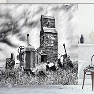 Ambesonne Industrial Shower Curtain, Old 60s Abandoned Tractor in Farm in Central Canada Nostalgic Machinery Elements Image, Cloth Fabric Bathroom Decor Set with Hooks, 75