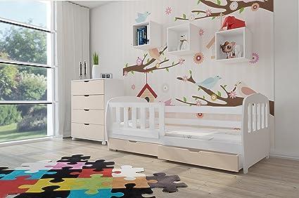 Vernici Cameretta Bambini : Bianco lettino per bambini letto con cassetto e materasso inclusi