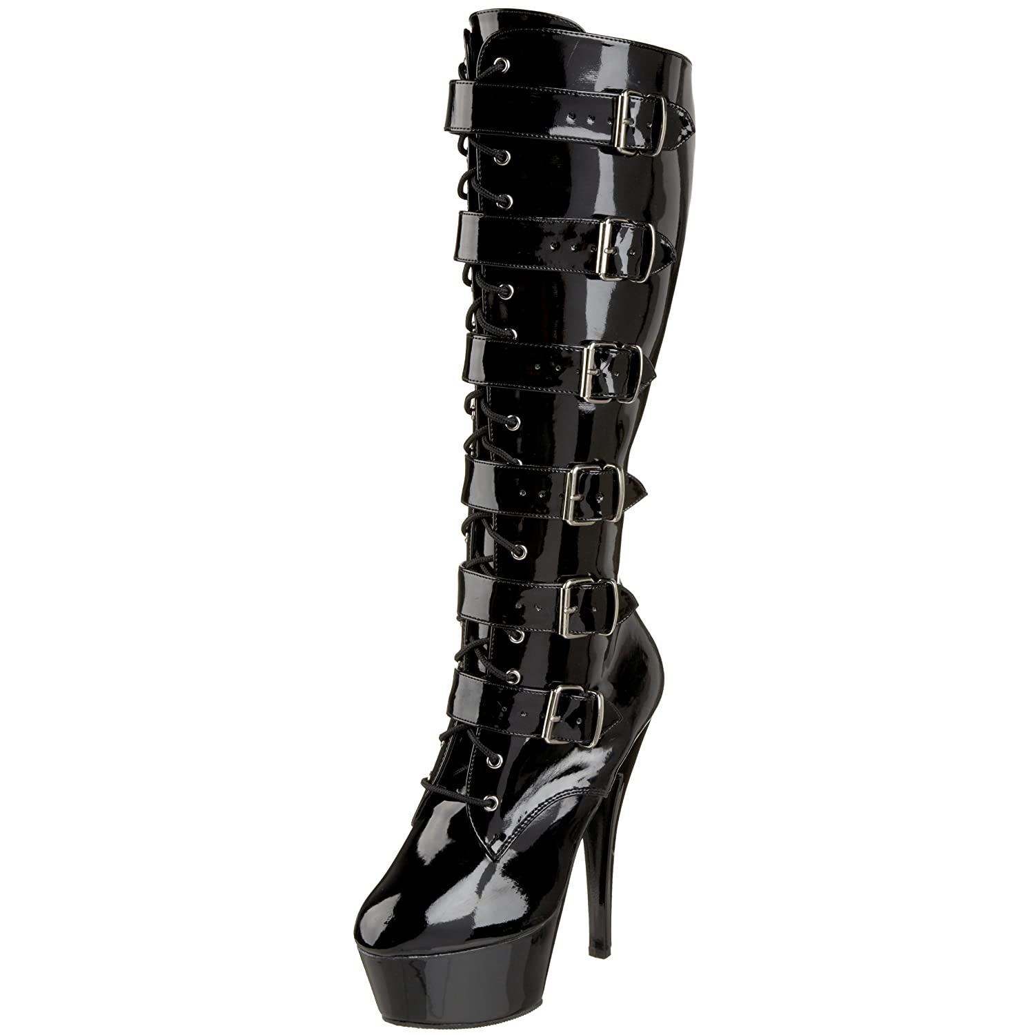 Pleaser Women's Kiss-2049 Platform Boot B000AD0XA4 6 B(M) US|Black Patent/Black