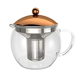 bonVIVO TEMPA Tea Infuser With Removable Stainless Steel Strainer, Tea Maker For Loose Leaf Tea or Detox Teas, Heat Resistant Borosilicate Glass Teapot With Lid In Copper Finish, 1500ml