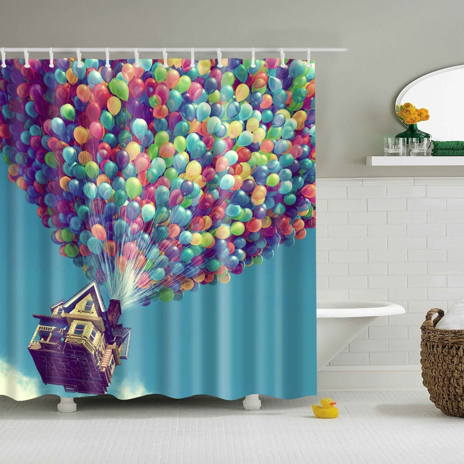 Bartori Shower Curtain A Lot of Colorful Balloon Take The House Fly in The Sky Like The Movie UP Waterproof Polyester Fabric Bath Curtain with 12pcs Hooks and Size 71''X71'' Nice Decorative