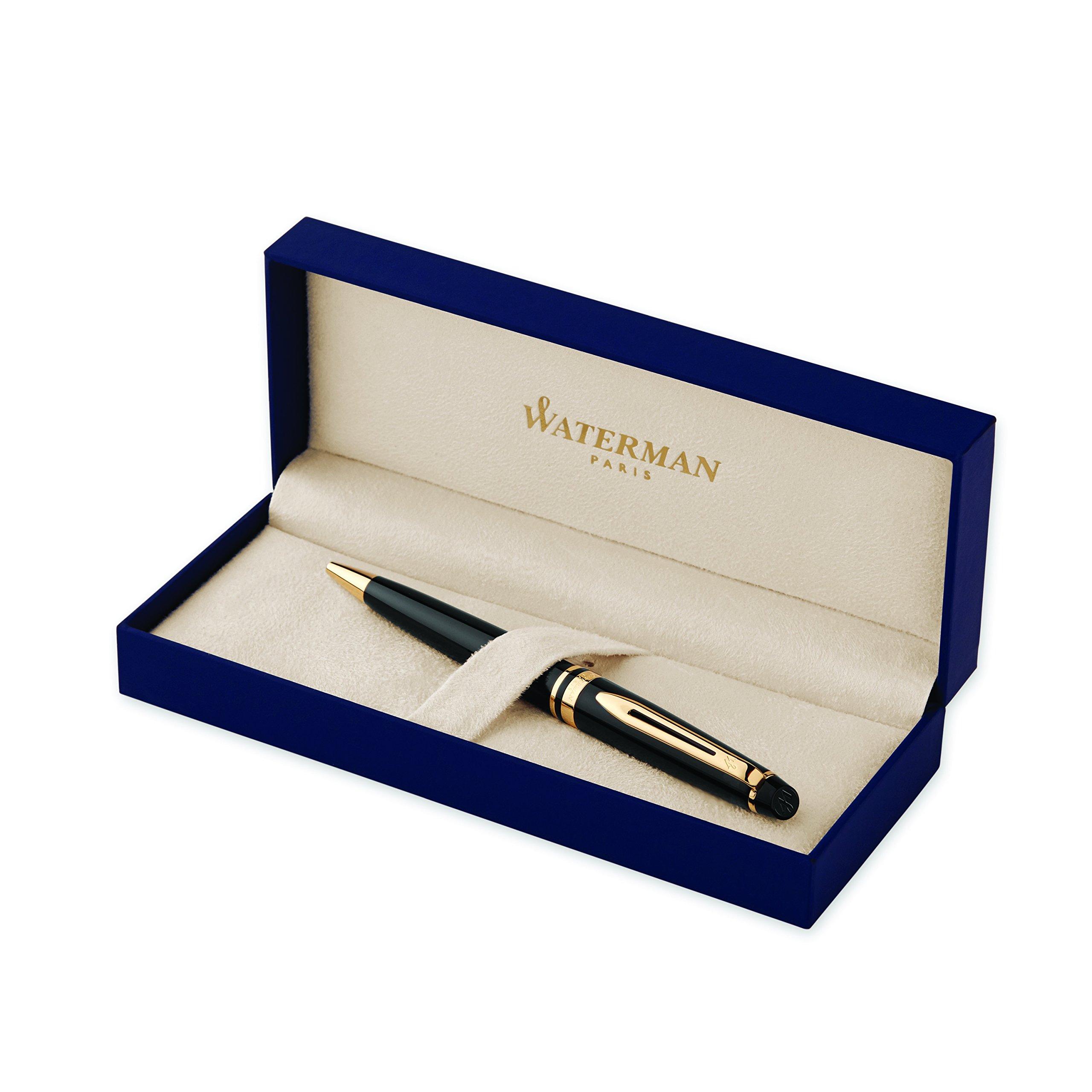 Waterman Expert Black  Ballpoint Pen GT, Medium Point, Blue Ink - S0951700