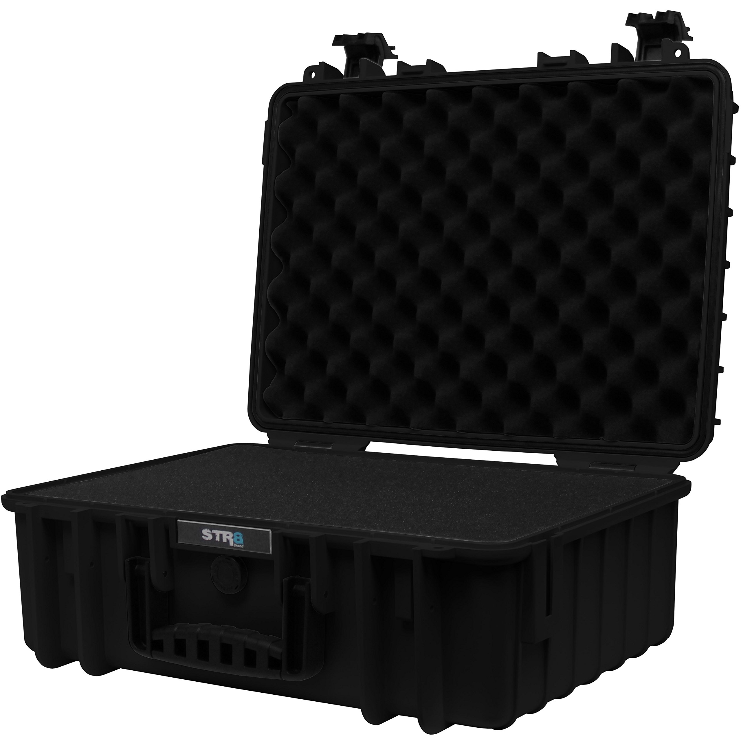 STR8Brand STR8 Brand 17'' Weather Resistant, Smellproof, Lockable, Glass Protector, Outdoor Carrying Case for Multi-Purpose with Pluck Foam (Onyx Black)