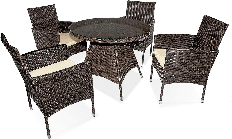 DISTRIGAL.SL HomeSouth - Conjunto de Mesa y 4 sillas de jardín, Mesa Mueble de Exterior, Silla con cojín, Acabado en Color Marrón, Modelo Peru, Medidas Mesa: 90 cm de diámetro x 73 cm de Alto
