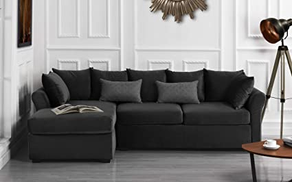 Modern Large Velvet Sectional Sofa, L-Shape Couch with Extra Wide Chaise  Lounge (Dark Grey)
