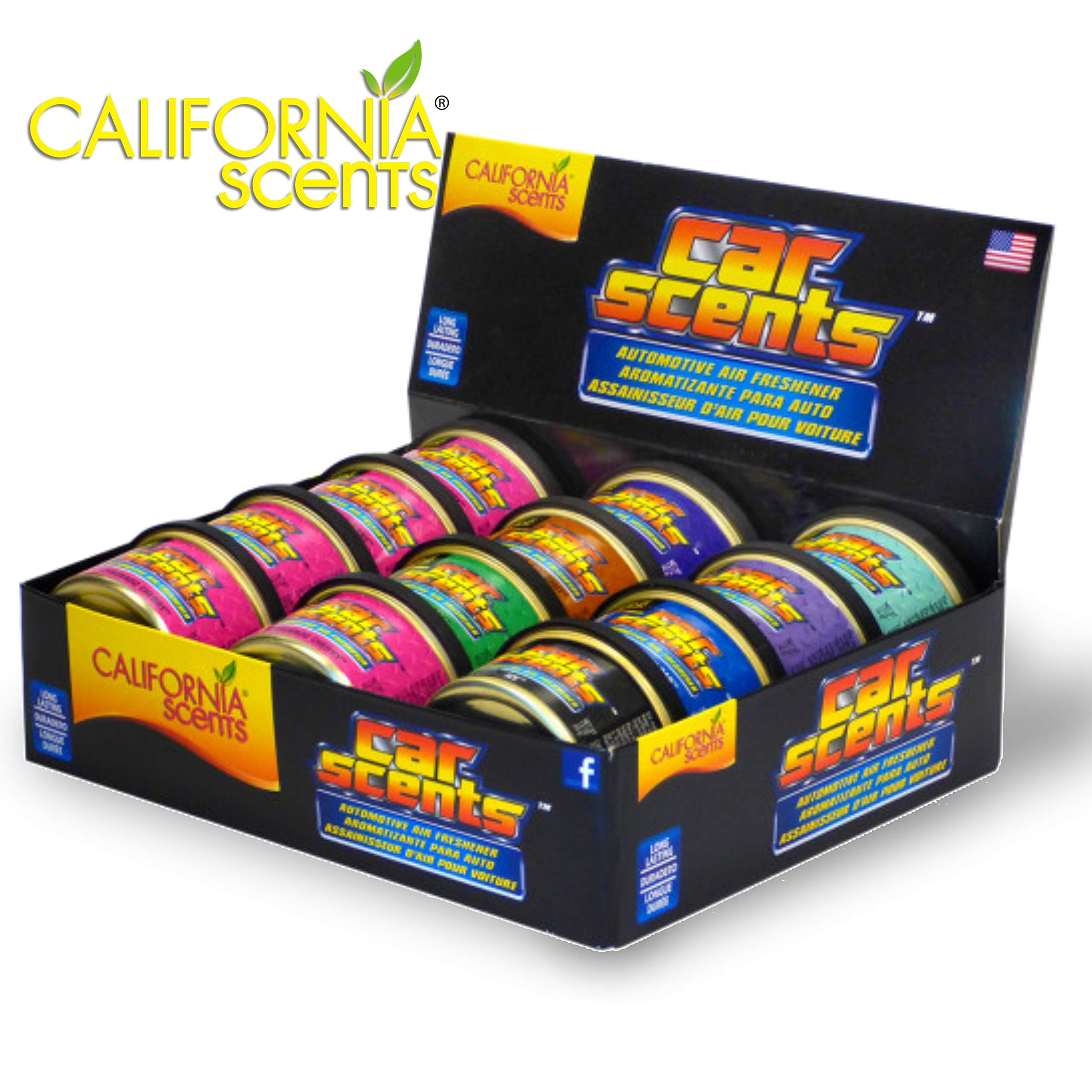 California Scents California Car Scents, Car Air Freshener & Fragrance, Long-Lasting Fresh Scents, 1.5 oz. Cans (12 Count) by California Scents