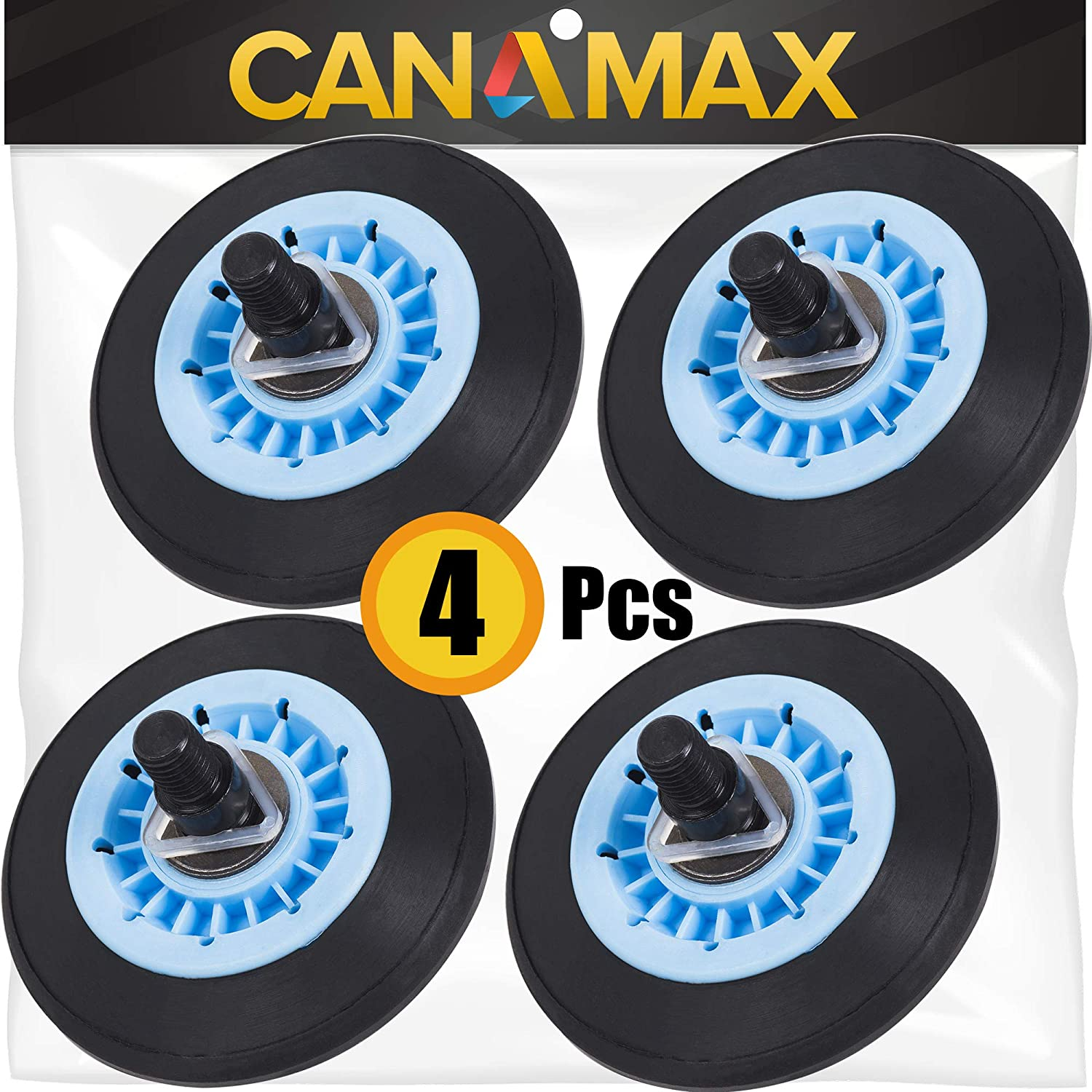 DC97-16782A Dryer Drum Roller Kit Premium Replacement Part by Canamax - Compatible with Samsung Dryers - Replaces DC97-07523A PS4221885 AP5325135 - PACK OF 4