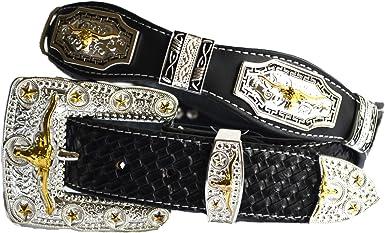 Men/'s Black Leather Belt with University of Texas Longhorns Conchos 44  RLE