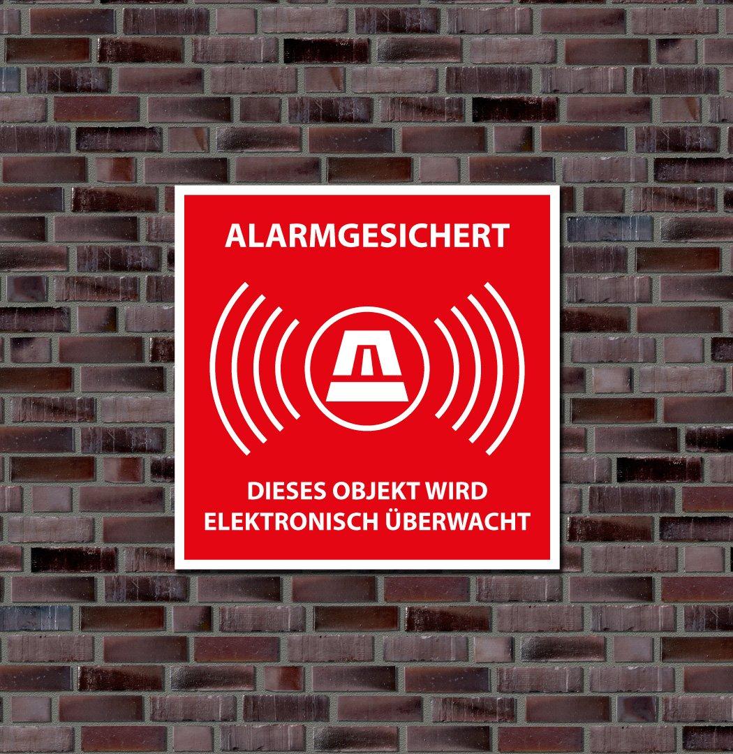 Schild, Hinweisschild Alarmgesichert - Dieses Objekt wird elektronisch überwacht - Alu-Verbundmaterial - Wetterfest (30 x 30cm)