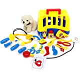 Best Choice Products Set of 20 Kids Dog Vet Groomer Medical Kit w/ Puppy Plush Toy, Carrier, Vet Tools, Grooming Tools