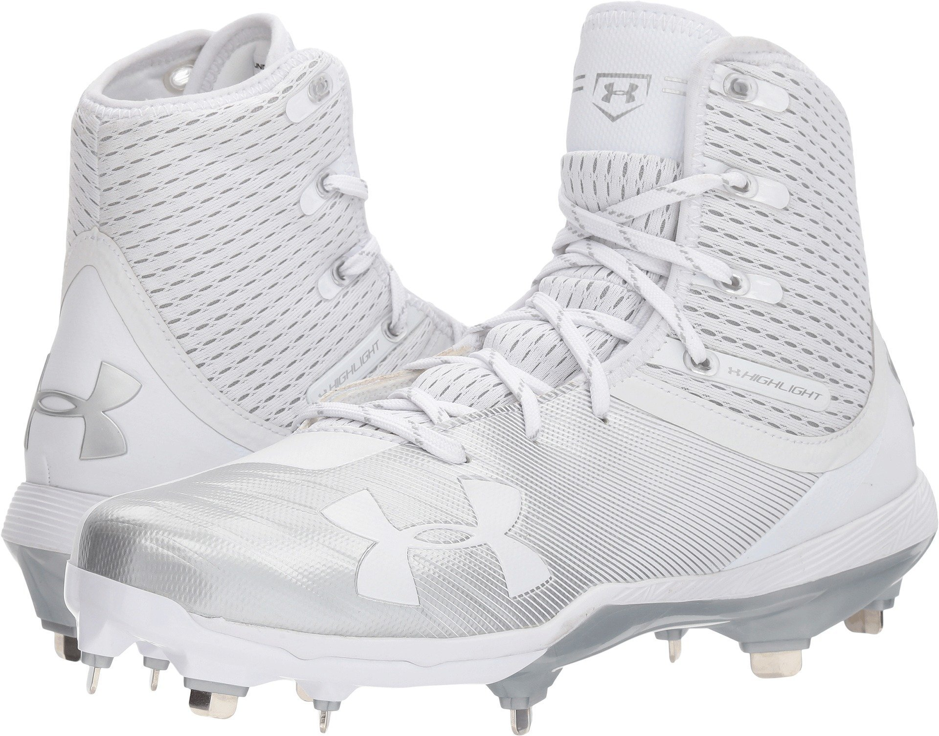 Under Armour Men's Highlight Yard Diamondtips Baseball Shoe, White (100)/White, 11