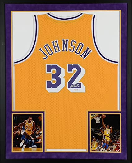 2736db497df Magic Johnson Los Angeles Lakers SM Deluxe Framed Autographed Yellow Adidas  Swingman Jersey - Fanatics Authentic