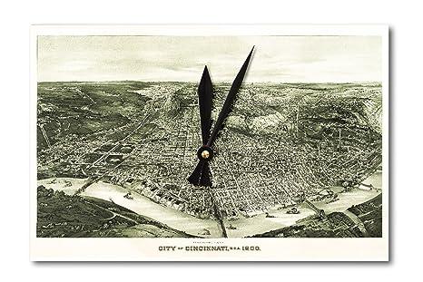 Cincinnati Ohio 1899 Mapa Panoramico Acrilico Reloj De Pared