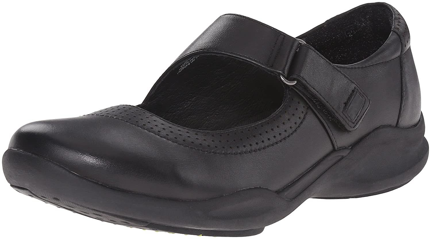 CLARKS Women's Wave Wish Mary Jane Flat B011W8Q778 7 W US|Black Leather