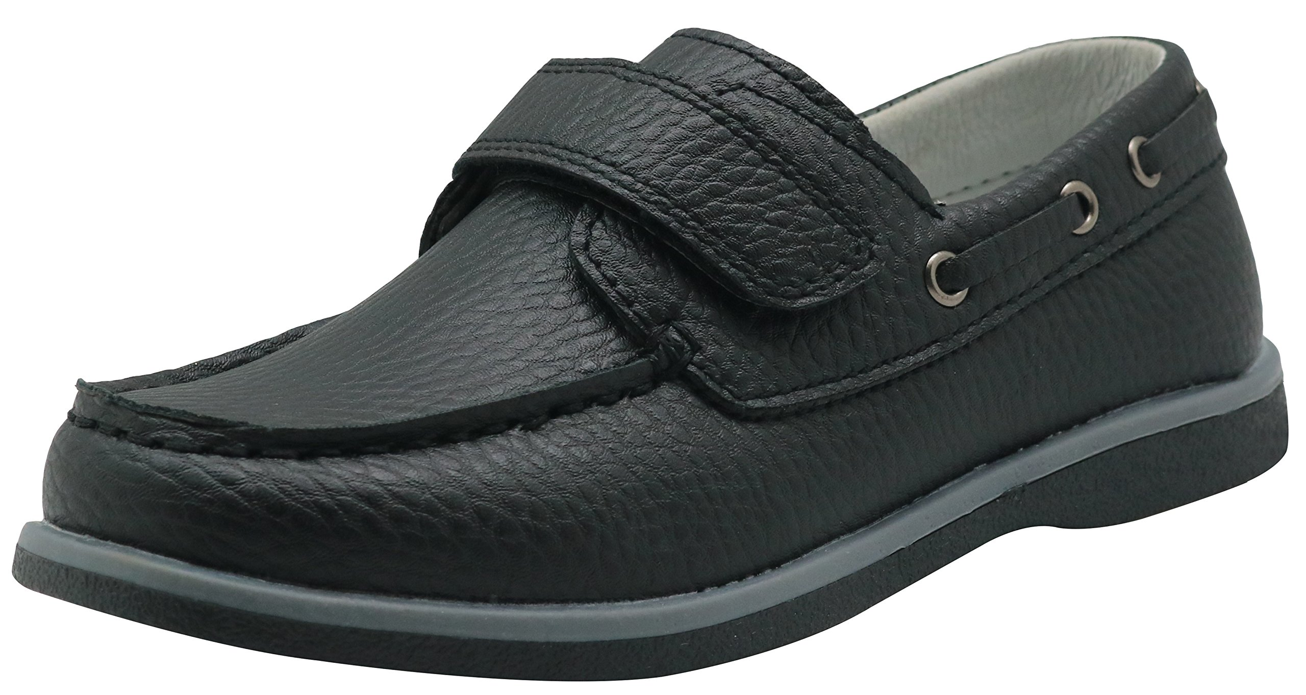 Apakowa Kids Boys Loafers Casual Slip On Boat Shoes with Strap (Toddler/Little Kid/Big Kid) (Color : Black, Size : 4.5 M US Big Kid)