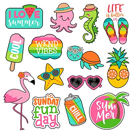 70e5eef2e343 Cute Laptop Stickers for Girls[14PCS], Lovely Summer Sea Horse Turtle  Octopus Flamingo
