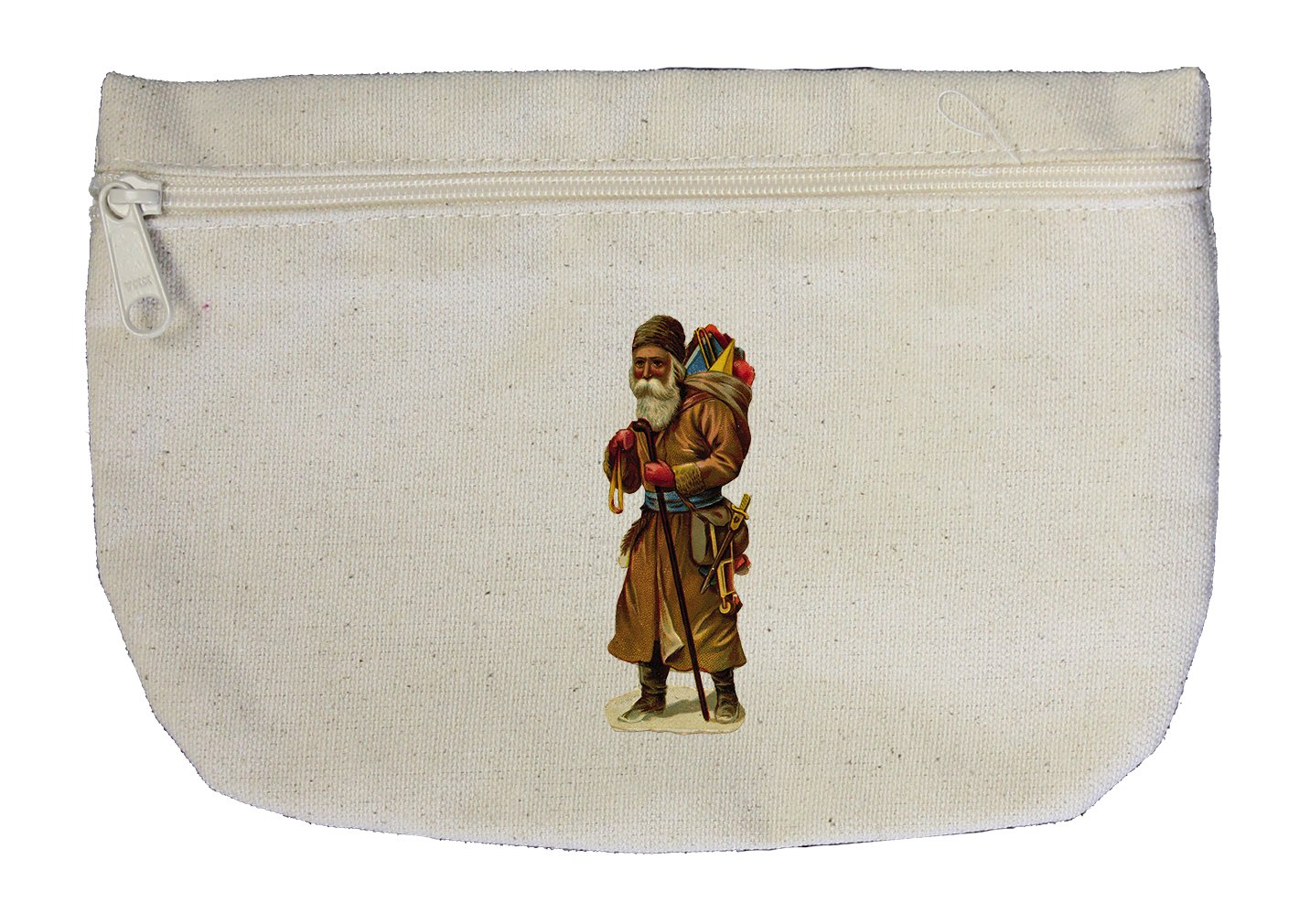 Canvas Pouch Zipper Makeup Bag Santa In Brown Coat Holidays By Style In Print